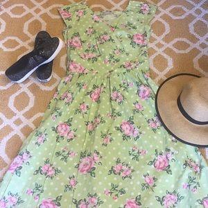 Green polkadot flower eshakti dress small 4 NWOT
